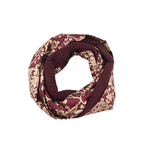 Ring Scarf, Circle Scarf, Head Scarf, Infinity Scarf, Fashion, Endless, Loop, Snood, Shawl, Double Sided, Women, Girl, Wool, Silk, Red, Yellow Gold Flower Pattern Print, Handmade in Florence, Italy