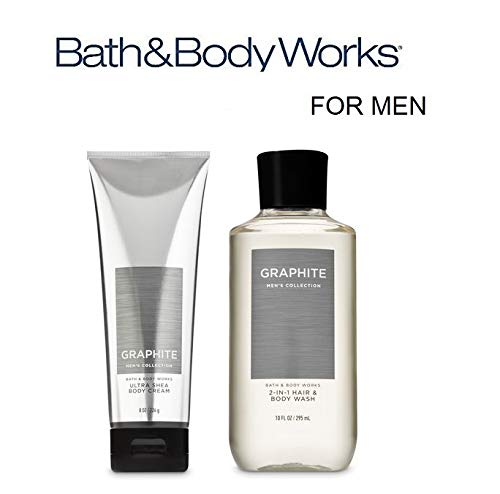 Bath and Body Works Just for Him Gift Set GRAPHITE FOR MEN Ultra Shea Body Cream and 2-in-1 Hair + Body Wash. Full ()