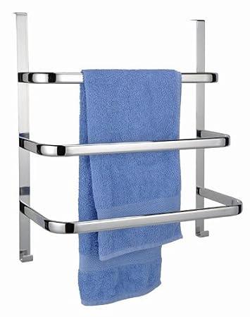 Handtuchhalter für die Tür mit 3 Stangen und 2 Haken - verchromt ...