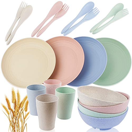 Saike 20pcs Wheat Straw Dinnerware Sets for 4 Reusable, Wheat Straw Plates, Wheat Straw Bowls Dishwasher and Microwave…