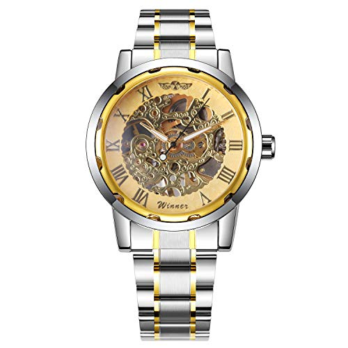 - Caluxe Men's Hand-Wind Mechanical Watches Luxury Golden Classic Skeleton Stainless Steel Strap Collection Waterproof Wrist Watch