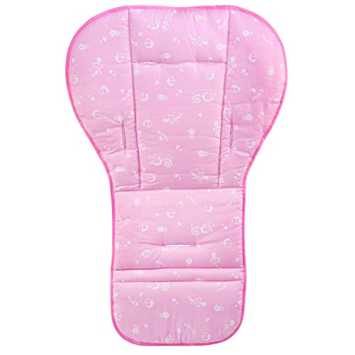 BelleStyle Colchonetas para silla de paseo, Universal Colchoneta Silla Colchoneta Suave Transpirable bebe algodon puro cochecito asiento maletero bebe recien Nacido cojin (Rosa)