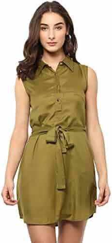 4a0350d05b2 RADANYA Indian Women s Short Dress Rayon Wrap Buttoned Casual Wear Mustard  Summer Dress