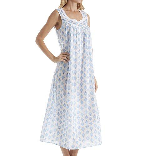 Eileen West Women's Blue Peacock Cotton Lawn Ballet Gown, White/Aqua, Large (West Flannel Eileen Gowns)