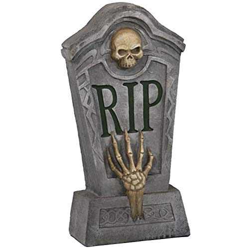 - Sunnydaze RIP Graveyard Tombstone Halloween Decoration, 24-Inch Tall