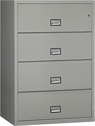 Phoenix Lateral 38 inch 4-Drawer Fireproof File Cabinet with Water Seal - Light Gray ()