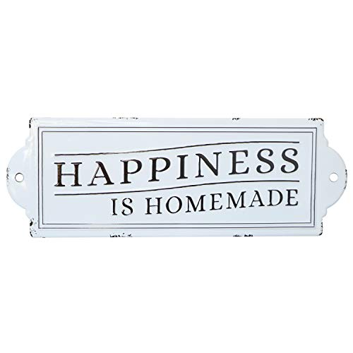 Barnyard Designs Happiness is Homemade Enamel Wall Sign Rustic Vintage Inspirational Quote Home Decor 24
