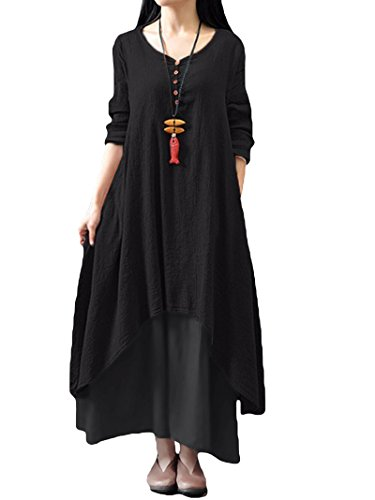 Romacci Women Boho Dress Casual Irregular Maxi Dresses Layer Vintage Loose Long Sleeve Linen Dress with PocketsSmallBlack