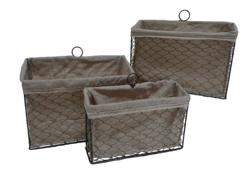 Nested Lined Baskets - Cheungs FP-3372-3 Lined Wire Office Desk Organizers (Set of 3)
