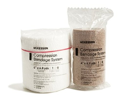 McKesson Compression Bandaging System, Two-Layer, 4 Inch X 6.8 Yard, Tan, NonSterile, each set (*)