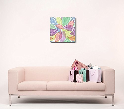 Seamless Abstract Color Leaves Wall Decor Wood Framed