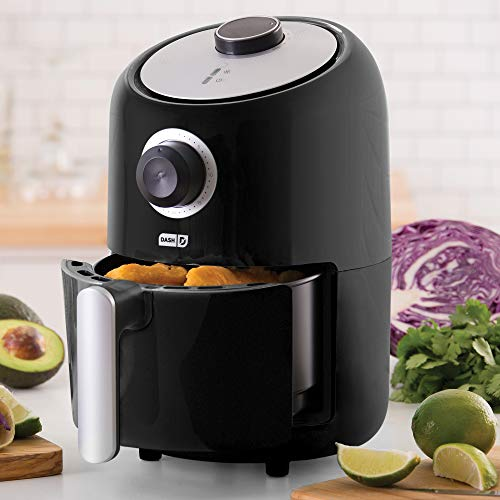 Dash DCAF150GBBK02 Compact Air Fryer Oven Cooker with Temperature Control, Non Stick Fry Basket, Recipe Guide + Auto Shut off Feature, 2qt, Black