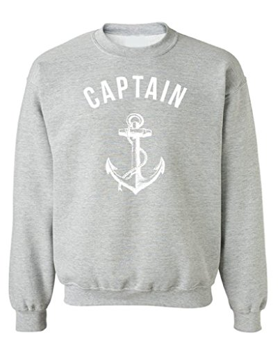 icustomworld Captain Crewneck White Anchor Summer Maritime Sweatshirt L Gray