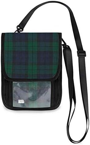 トラベルウォレット ミニ ネックポーチトラベルポーチ ポータブル スコットランド 格子縞 小さな財布 斜めのパッケージ 首ひも調節可能 ネックポーチ スキミング防止 男女兼用 トラベルポーチ カードケース