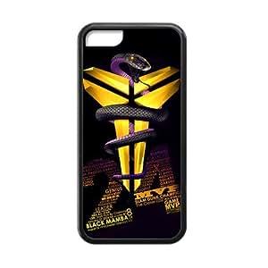 Coolest Los Angeles Lakers Kobe Bryant Apple Iphone 5C Case Cover TPU Laser Technology #24 Logo Peter Pan Black Mamba VINO Rattlesnake