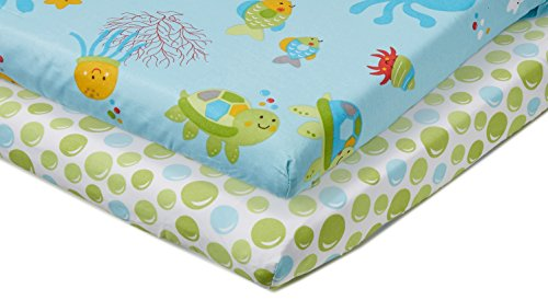 NoJo Little Bedding 2 Count Crib Sheet Set, Ocean Dreams