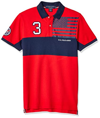U.S. Polo Assn. Men's Slim Fit Color Blocked Pique Polo Shirt, Engine red, L
