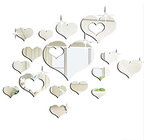 15pcs 3D Acrylic Heart-Shaped Mirror Wall Stickers Plastic Removable Heart Art Decor -