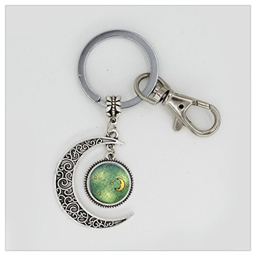 Skyboby crescent full moon keychain islam full moon keyring jewelry islamic amulet relgion full moon keyring moon star (Moon Ring Jewelry)