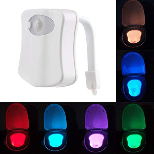 Alisena 16 Changing Colors LED Motion Activated Sensor Automatic Toilet Bowl Night Light New Bathroom Human Body Auto Motion Seat Light Lamp Perfect Decoration