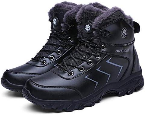 男性レースアップ人工PUレザー冬のアウトドアシューズレースアップフェイクファーのための雪のブーツは、暖かいミッドアンクルブーツブラック裏地 (色 : 褐色, サイズ : 27.5 CM)