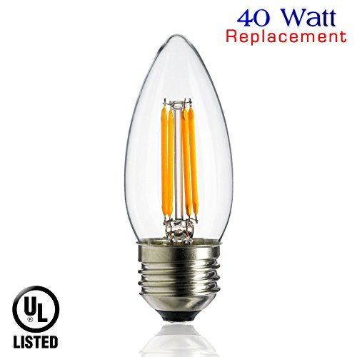 Linear Clear Incandescent Light Bulb (Luxrite LR21207 4W LED Filament Medium Base Chandelier Bulb, 40W Equivalent Incandescent Chandelier Bulb, Warm White 2700K, 350 Lumens, 260° Beam Spread, E26 Medium Base, UL-Listed, 1-Pack)