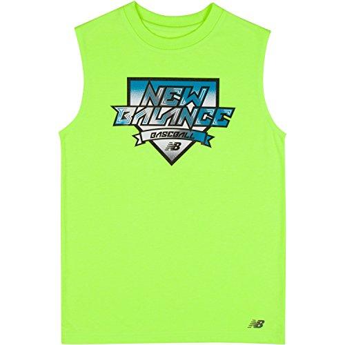 New Balance Boys' Big Sleeveless Graphic Tank, Lime Glow, 14/16 (Newborn Logo Tank Top)