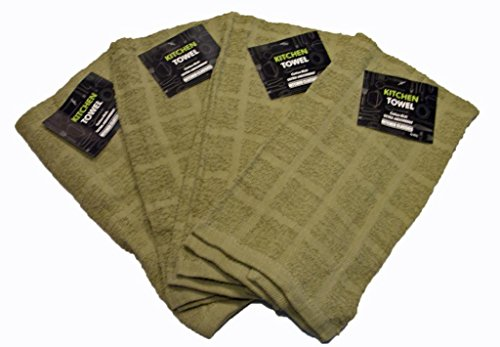 Kitchen Towel 100% Cotton Solid Colors (4 Pack) - Bar Mop Hand Towels 15