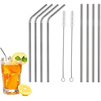 Metal Straws - Pack of 8 Stainless Steel Drinking Straws, with 2 Cleaning Brushes. 6mm.