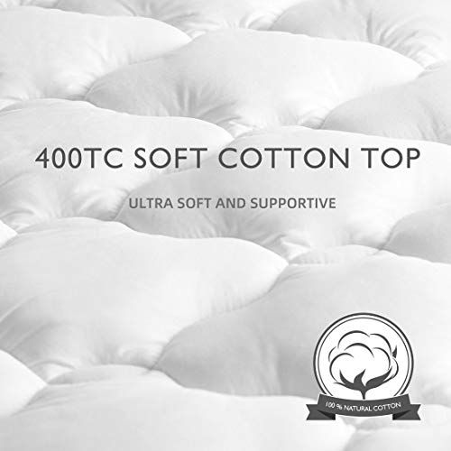 TEXARTIST Mattress Pad Cover Queen, Cooling Mattress Topper, 400 TC Cotton Pillow Top with 8-21 Inch Deep Pocket