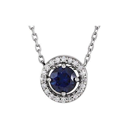 "Bonyak Jewelry Lab-Created Alexandrite 14k White Gold Chatham Created Alexandrite & .05 CTW Diamond 16"" Necklace"