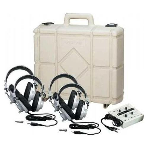 - Califone 1214AVPS-01 4-Position Non-Powered Stereo Listening Center, Includes: Four 2924AVPS Stereo Headphones, 1210AVPS Stereo Jackbox and Rugged Carry/Storage Case
