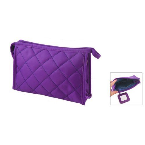 Purpura Rectangle Travel Bag Toogoo Women Case Makeup 9 Pattern Grid Zipper Long r 7 U86q0O