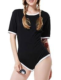 LittleLittle Adult Baby Diaper Lover Snap Crotch Romper Onesie ABDL Bodysuit Black