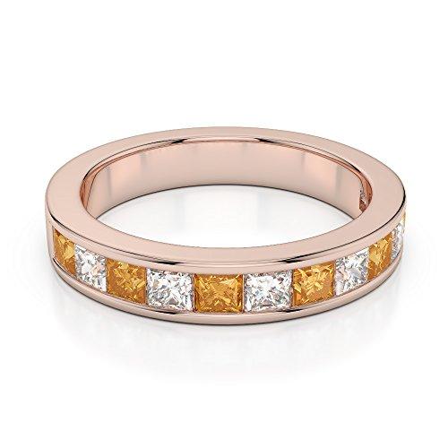 Or Rose 18carats 1/2ct G-H/VS Certifié Coupe Princesse Citrine et diamants Agdr-1137