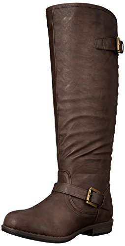 Brinley Co Women's Durango-Wc Riding Boot, Brown Wide Calf, 11 M US (Brinley Riding Studded Boots)