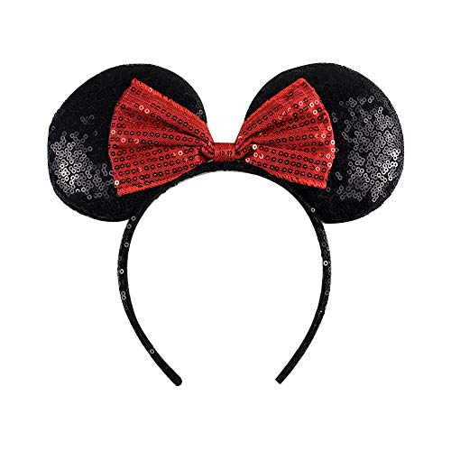 Red Mouse Ears Headband,Rainbow Mouse Ears,Sequin Minnie Mouse Ears,Headband for Girls Kids Adults Birthday Costume Party ()