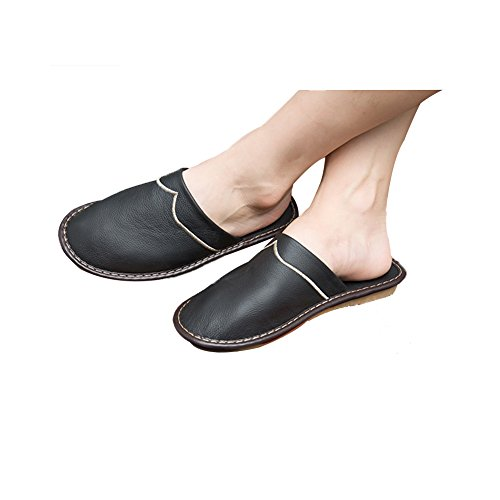 TELLW Spring autumn Winter Leather Slippers Leisure slipper anti-slip soles shoes Cowhide Slippers for women Black