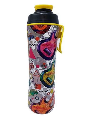 Music Water Bottles - 24 oz BPA Free Reusable Bottle with Musician Inspired Prints - Great Gift for Music Lovers, Piano Teachers, Students, Directors, and Band Members - Made in USA (Guitars)