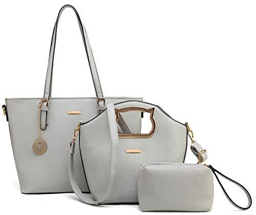 - Women Handbag and Purse Tote Bag Satchel Bag Crossbody Handbag 3 Piece Gift Set (Gray)