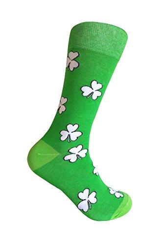 Men's Shamrock/St.Patrick Day Dress socks Bright Green/White/Light Green,Men Sock Size 10-13. -
