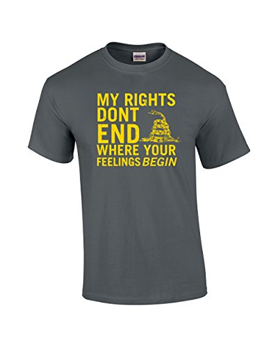(Rights Don't End Where Feelings Begin 2Nd Amendment Adult T-Shirt-Coal Charcoal)