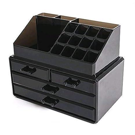 FOBUY Caja acrílica Estante de maquillajes Maquillaje Cosméticos Joyería Organizador (4 Drawers Clear C)