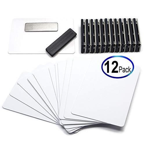 CMS Magnetics DIY Kit for 12 Sets of Magnetic Name Badges - 12 Sets of Premium PVC Cards -
