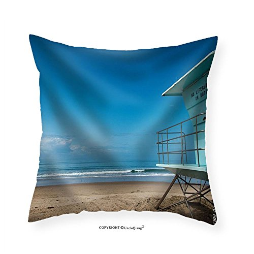 Lifeguard Hut (VROSELV Custom Cotton Linen Pillowcase Lifeguard Hut at Beach in Southern California - Fabric Home Decor 14