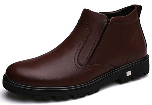IDIFU Mens Casual Fleece Lined Round Toe Low Heels Pull On Ankle High Snow Boots Brown 25K9tPCVzP