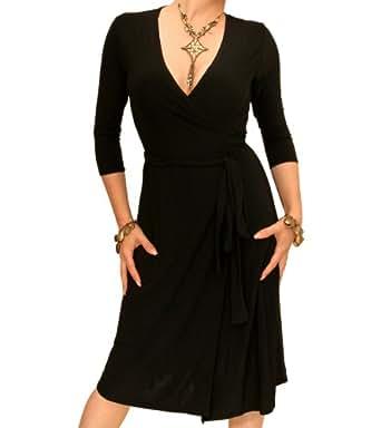 Blue Banana - Black Elegant Slinky Wrap Dress US Size 4
