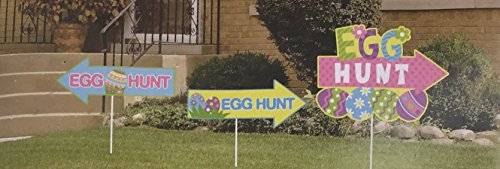 Easter Egg Hunt Outdoor Yard Sign With Stakes (3 Piece Set) (Easter Scavenger Hunt Ideas)