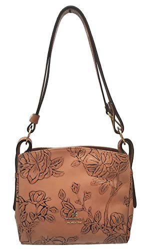 Cuoieria Fiorentina Italian Embossed Tooled Leather Crossbody (Salmon)