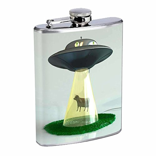 Stainless Steel 8oz Hip Silver Flask Retro Alien Abduction S8 Space Ship UFO Invaders Paranormal by American Packing & Gasket